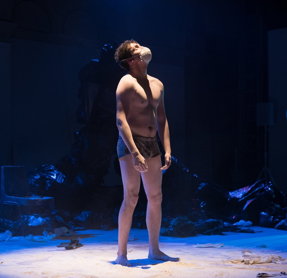 Actor Ciaran John in  The Crossing Place  during the 3.5 week run at Summerhall in Edinburgh, UK.