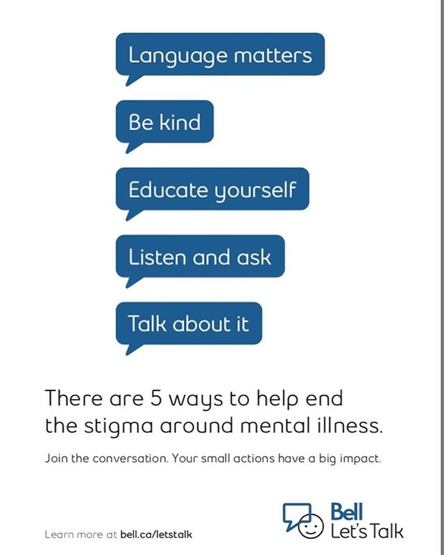 Let's keep the conversation about mental health going today and everyday to help reduce stigma. Mental health affects us all.  #bellletstalk2019 #endstigma #mentalhealth #mentalhealthadvocate