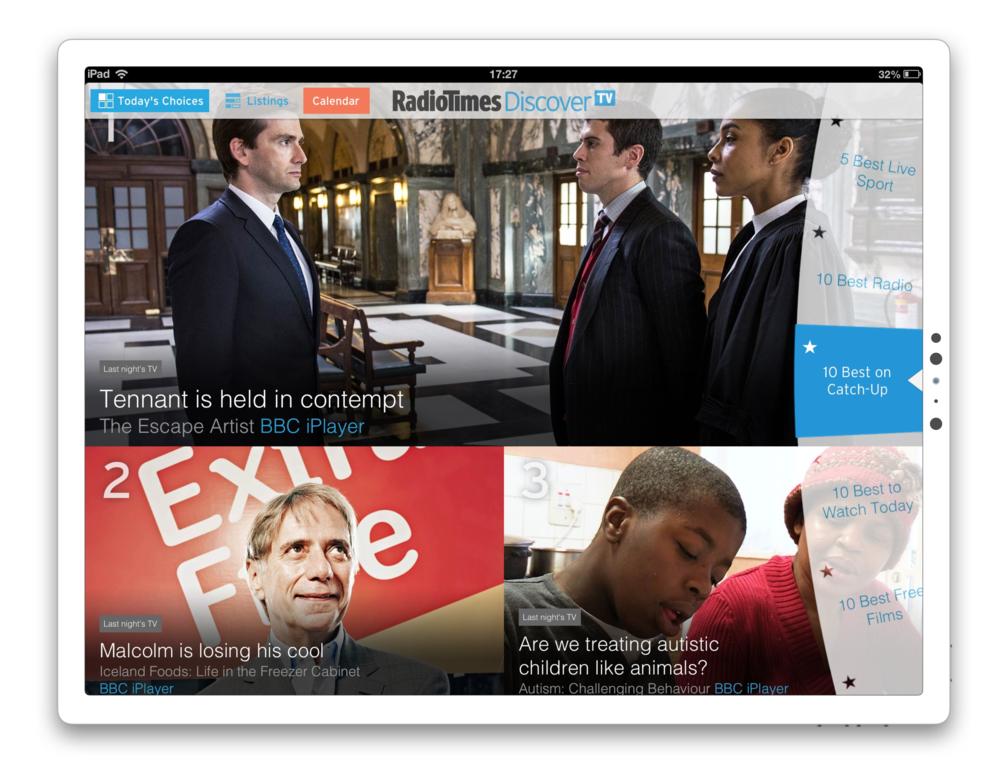 The RadioTimes iPad app