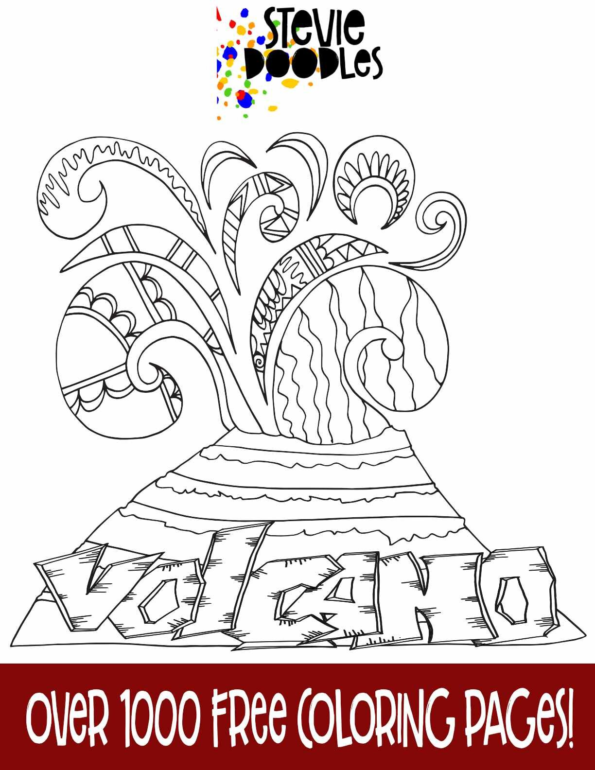 Volcano Free Coloring Page Stevie Doodles Free Printable Coloring Pages