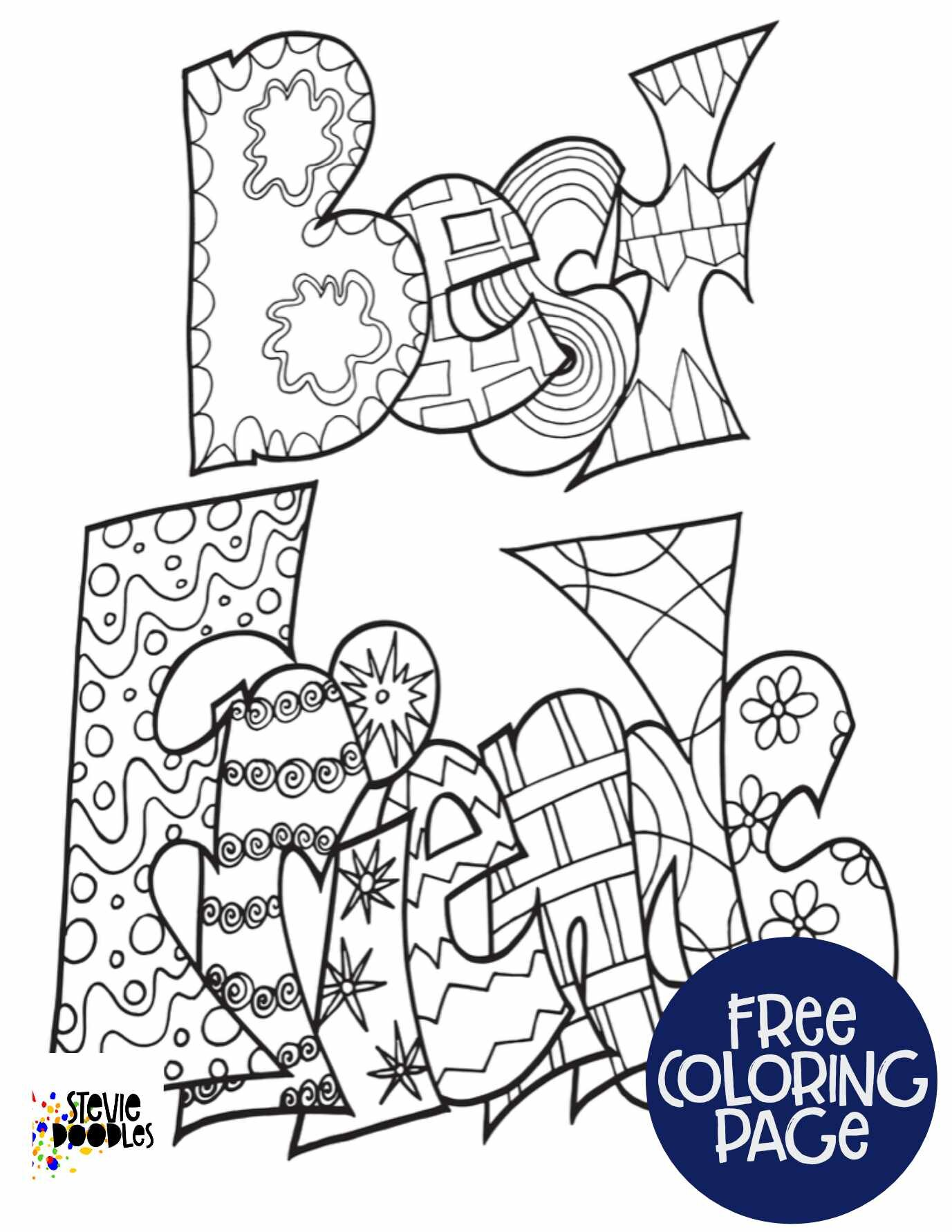 Free Printable Best Friends Coloring Page Stevie Doodles Free Printable Coloring Pages