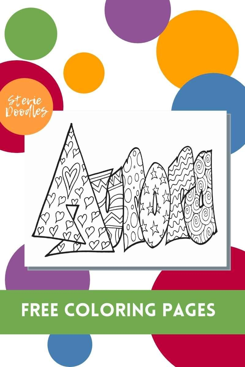 Aurora A Free Aurora Coloring Page Stevie Doodles Free Printable Coloring Pages