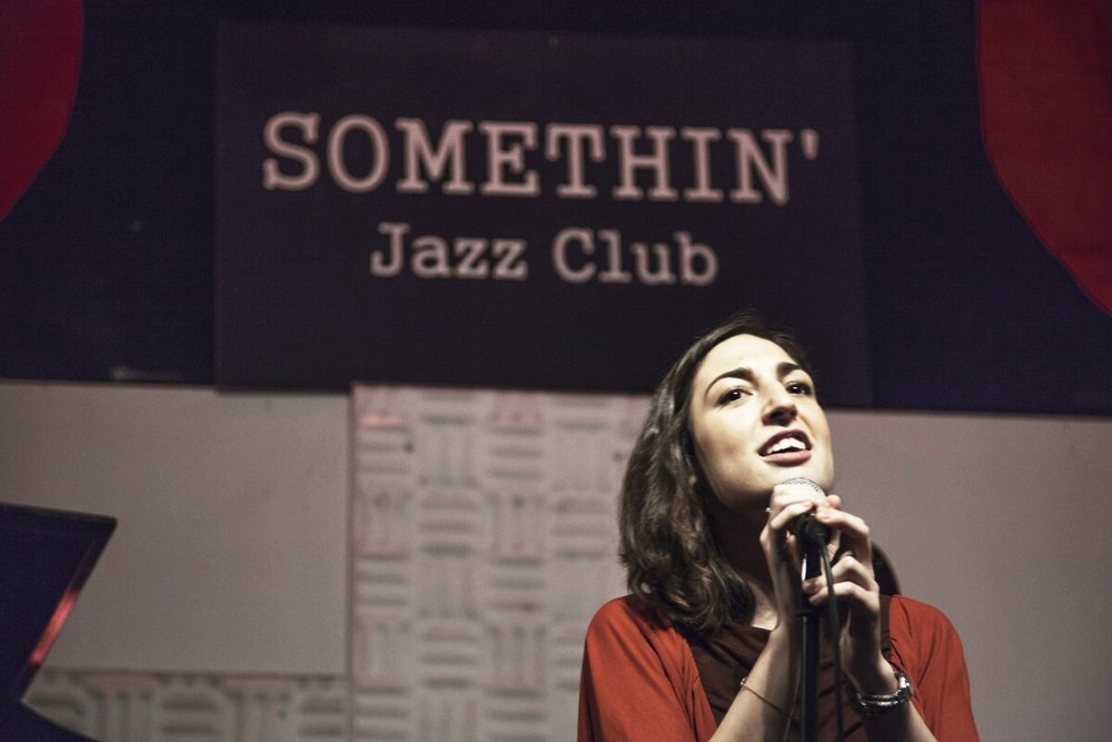 singing at Somethin' Jazz, NY