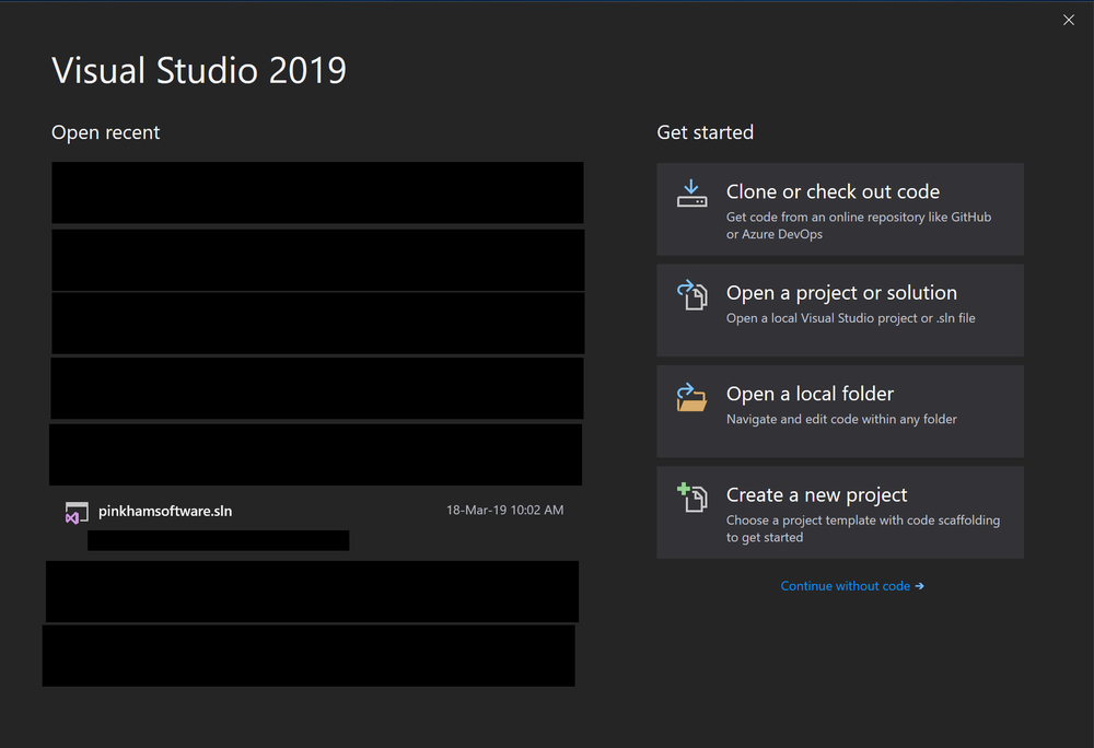 Visual Studio 2019 (Preview) quick start page has been improved.
