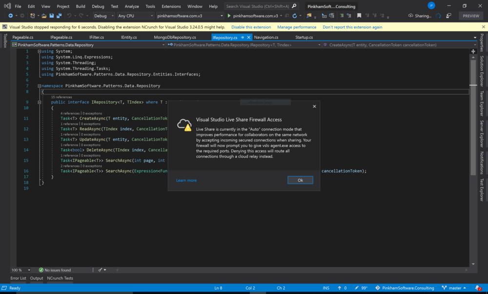 Visual Studio 2019 Live Sharing prompt