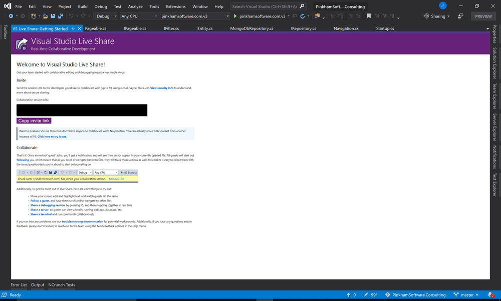 Visual Studio 2019 Live Sharing instructions