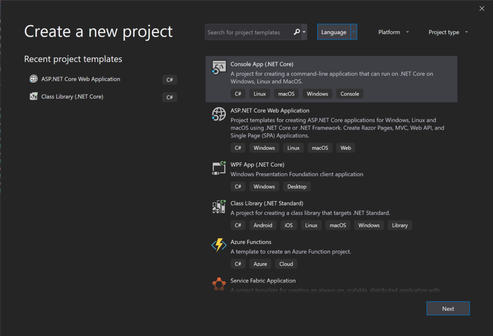 Visual Studio 2019's 'New Create a Project' user interface