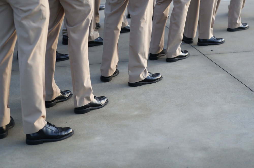 Cadets line up during formation in front of the Texas A&M Maritime Academy Hall on Tuesday, Dec. 6, 2017. There 579 cadets participating in the program this year. Between 500 and 550 cadets are pursuing license options through the Maritime Academy.