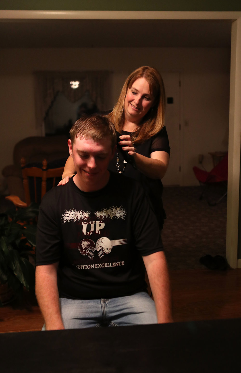 """Home haircuts by his mom Cheryl have been the rule for Elias. He has had only one haircut outside of home his entire life. """"We need to make this one last,"""" Cheryl joked."""