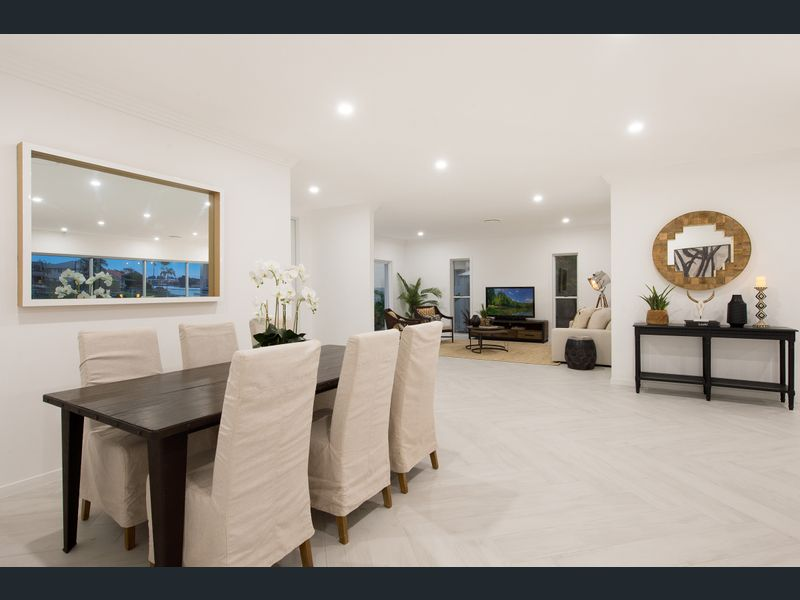 modern coastal Hamptons with herringbone tiled flooring