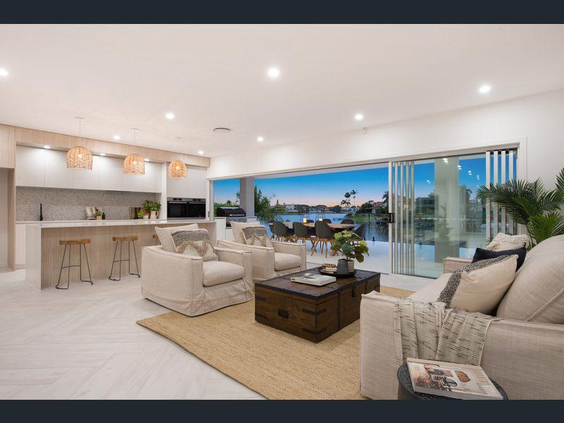Modern Hamptons with whitewashed herringbone flooring and custom Hamptons kitchen