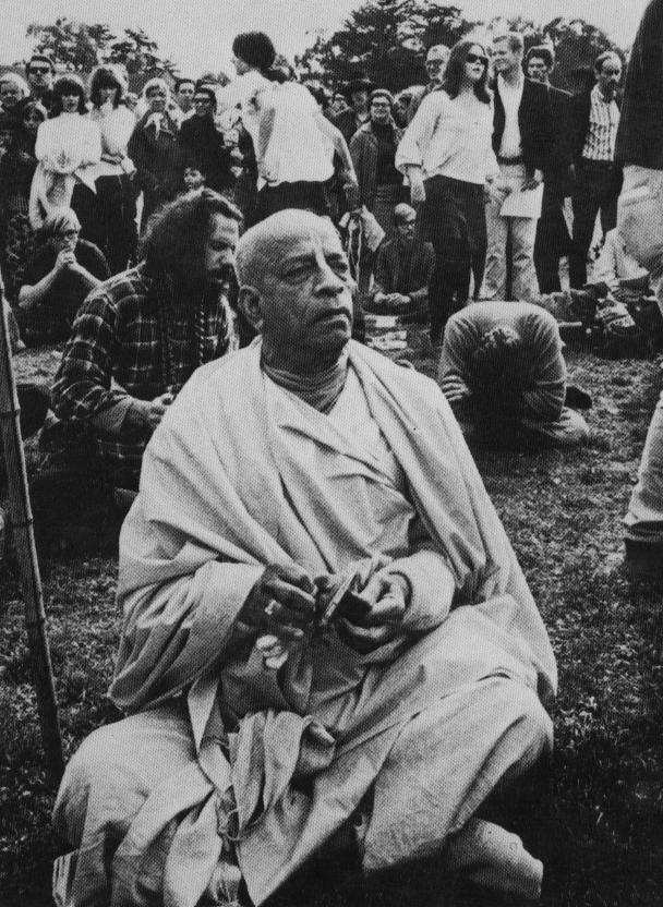 Oct 9, 1966, Bhaktivedanta Swami seen plaing the kartals in Tompkins Square Park, NY.