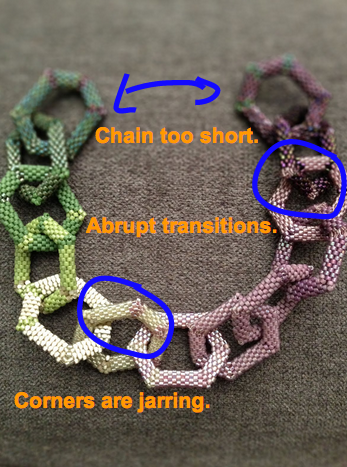 Hex peyote chain with problem points circled.
