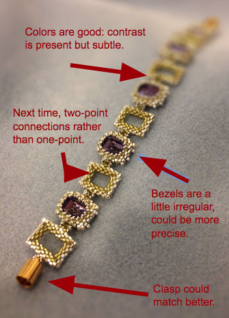 Revision suggestions for Cathedral Garden Bracelet: different connections, different clasp, more precise bezeling.