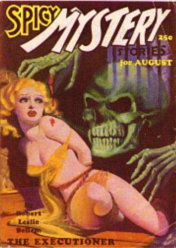Pulpy cover of Spicy Mystery Stories from August 1935.