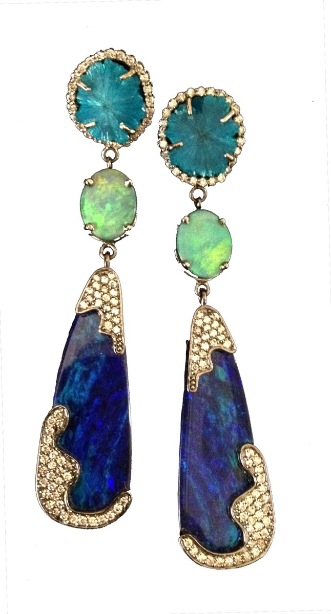 Three-stone earrings. A mid-size round green opal hangs above a small light green opal. Deep blue tear-shaped opals dangle below, with offset clusters of yellow diamonds.