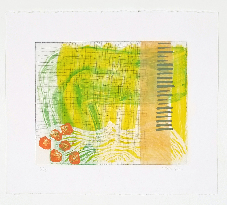 """Citron Swatch  12 x 14""""   layered etching on Kahdi paper (edition of 10)"""