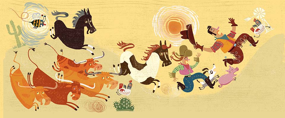 When the stallion runs after the mare, he starts a chain reaction as the cowboy, cowgirl, and ranch critters join the chase-around.