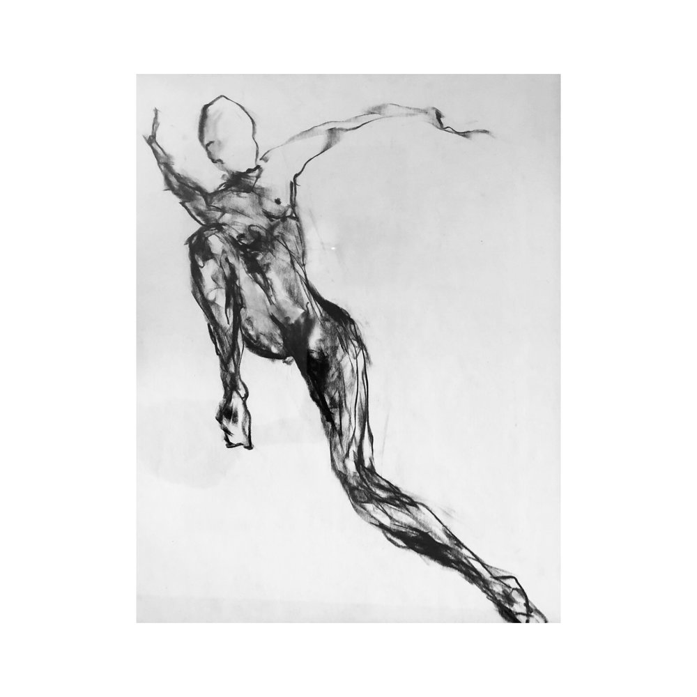 """It's a Leap of Faith - 24"""" x 18"""", CHARCOAL ON PAPER, 2017"""