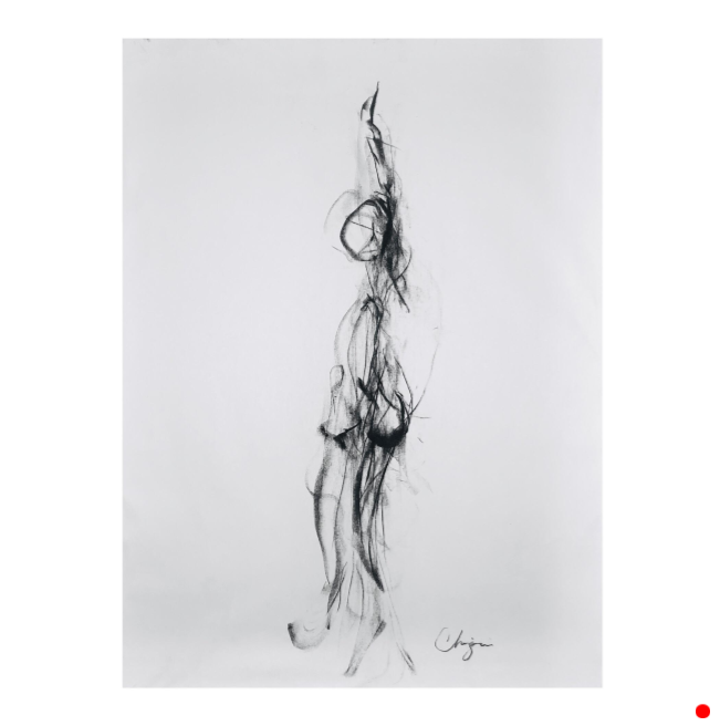 """Don't Leave Me Hanging - 24"""" x 18"""", CHARCOAL ON PAPER, 2017"""
