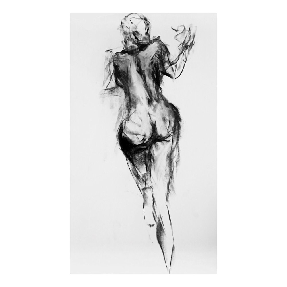 """Love To Watch Me Leave - 24"""" x 15"""", CHARCOAL ON PAPER, 2017"""