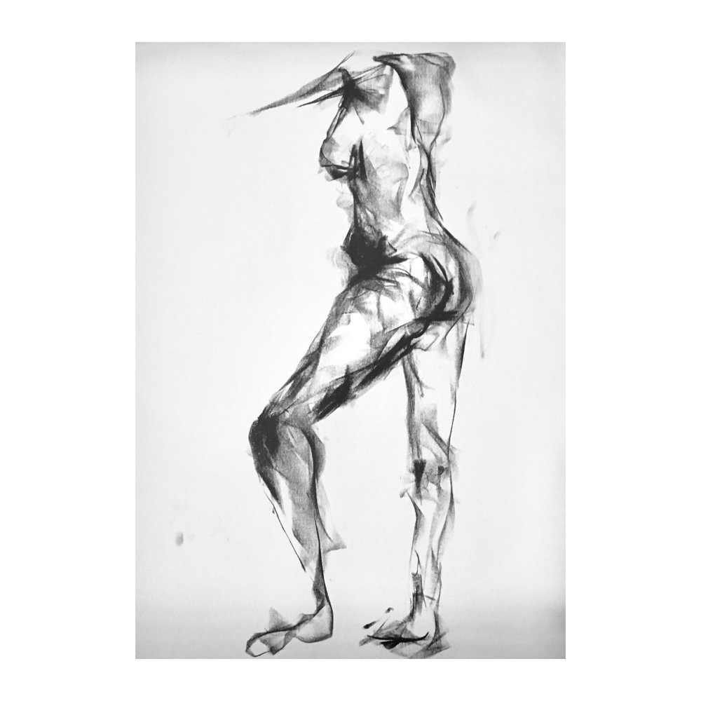 """Woman Waiting - 24"""" x 18"""", CHARCOAL ON PAPER, 2017"""