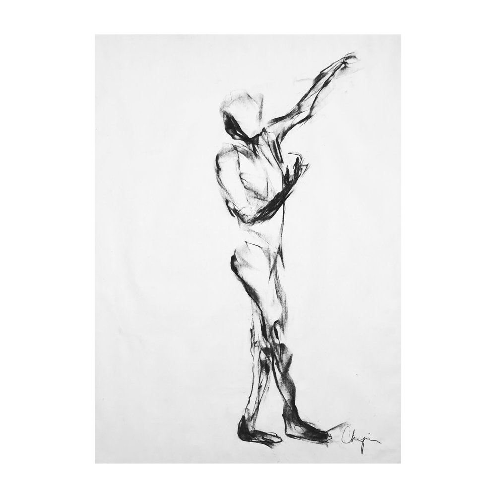 """Untitled - 24"""" x 18"""", CHARCOAL ON PAPER, 2017"""