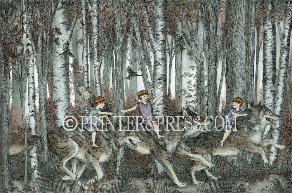 "This illustration was inspired by dire-wolves and ""Where the Wild Things Are"". I really wanted to create an illustration with wolves, as they are very popular. I decided it was also time to include a piece that had all boys. But I wanted to make sure the boys looked very small, and the wolves very large, but not scary. I'd like to think they are having a fabulous time romping through the birch forest, three princes and their wolves."