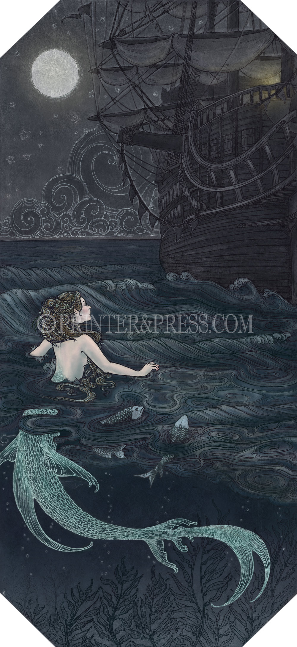 In the light of a full moon, a lovely mermaid floats on the sea's surface as she contemplates the approaching clipper ship, full of wonder and anticipation. Her iridescent green tail and milky white skin are in perfect contrast to the dark mystery of the ship.