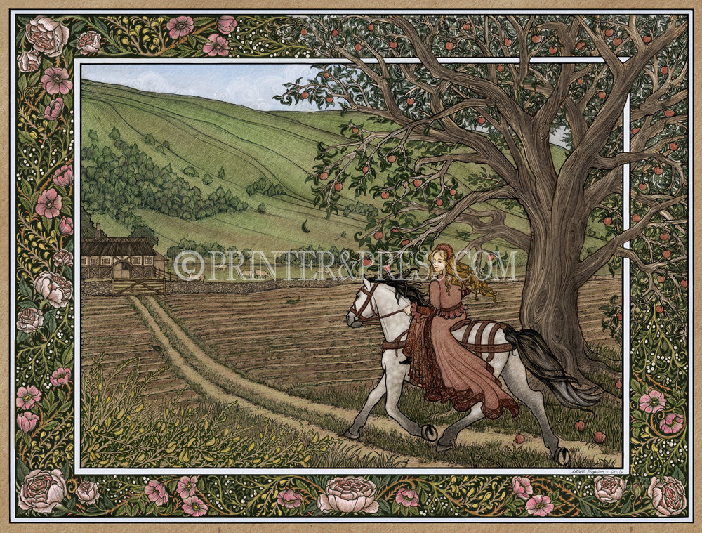 This illustration depicts Mary Boleyn riding towards Apple Tree Farm, a scene described lovingly in The Other Boleyn Girl. Mary, the sister of Anne Boleyn, has finally escaped the royal court to go and find the man she loves on his modest farm. Mistletoe and English roses create a beautiful floral border, along with the branches of a large apple tree.