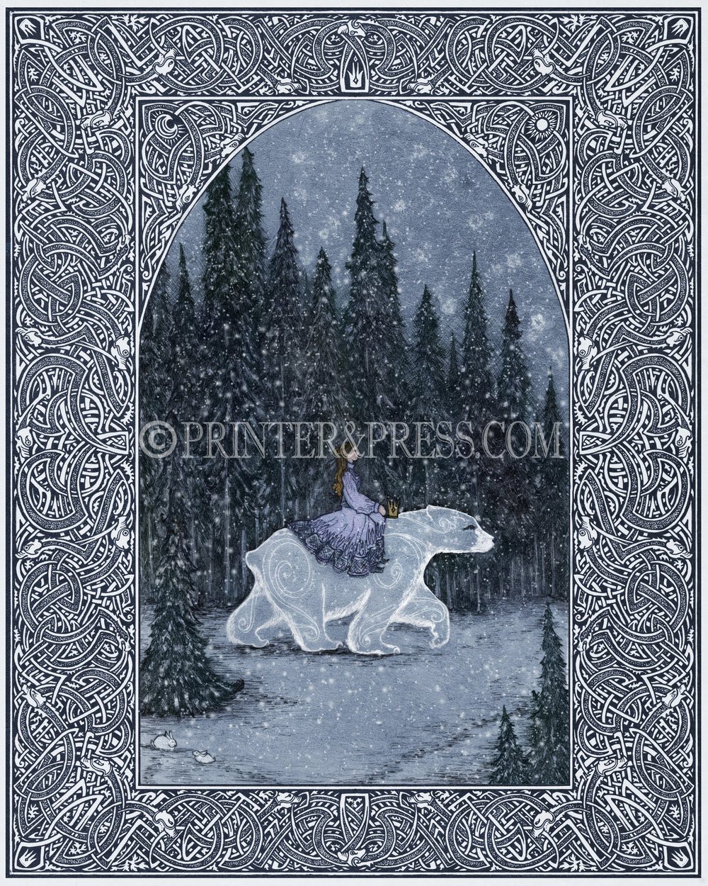 This print was drawn from the story of the Princess and the White Bear King, with the Princess riding a great white polar bear through a dark forest to a castle. The center illustration was done as an intaglio etching, and the border was drawn in pen and ink.