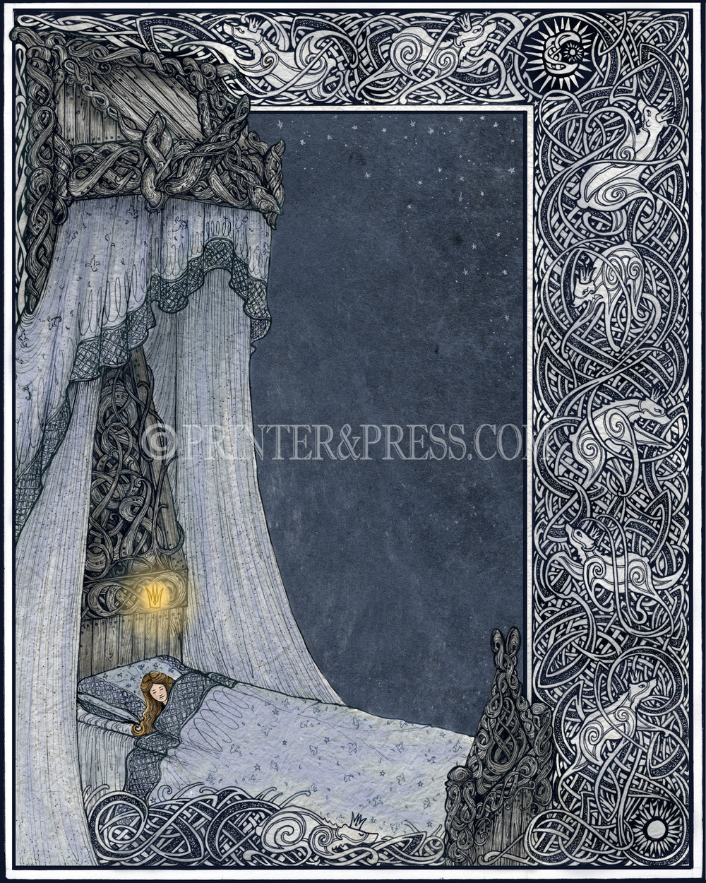 This print was drawn from the story of the Princess and the White Bear King, with the Princess dreaming of a golden crown. This piece was drawn entirely as a pen and ink drawing, scanned, and then colored digitally in Photoshop. I especially had fun drawing the twisty bear borders, and thinking of the most marvelous bed I could for her to sleep in.