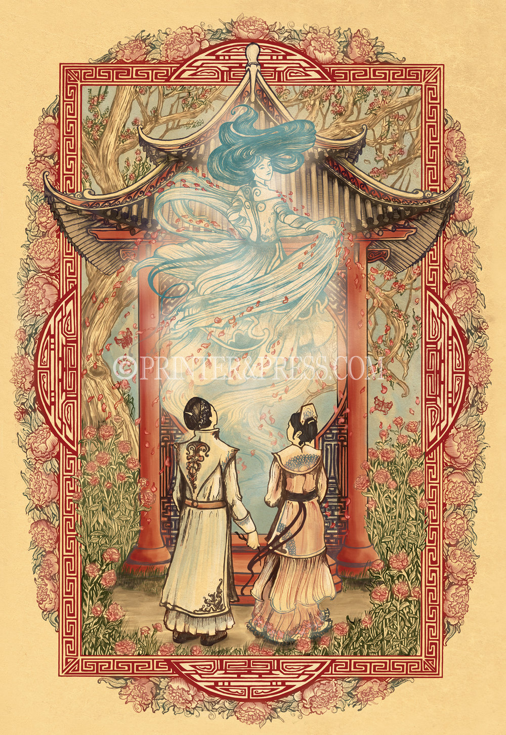 This illustration captures the most emotional moment from the novel, Peony in Love, when the ghost maiden is finally set free and blesses her former fiancé and friend. It is a tale of love and loss, desire and death. Peony in Love is an intricate original drawing which was ultimately put together using many digital layers.