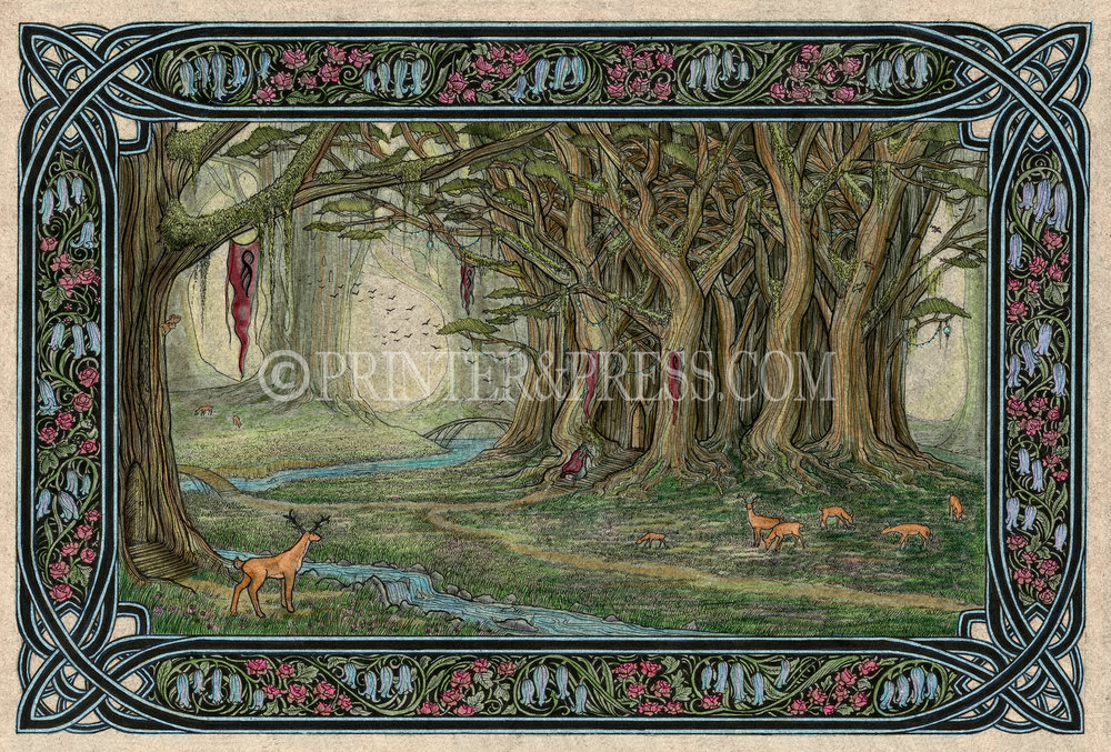 Ellesmera is an imaginary land where animals and elves dwell among clusters of ancient trees and forest brooks. Tiny roses and bluebells weave a lovely border around this peaceful scene. The inspiration for this original drawing comes from the fantasy novel, Eragon. This original drawing has been scanned and colored digitally in Photoshop.