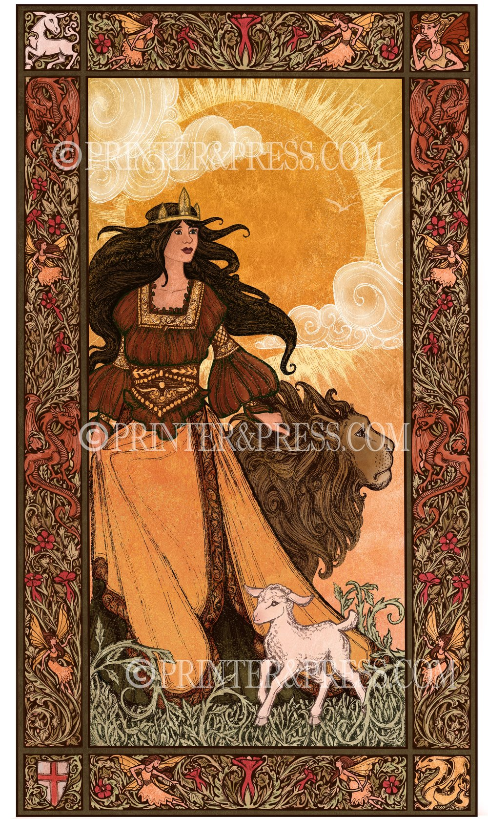 This digital illustration is based on Una and the Lion from Edmund Spenser's epic poem, The Faerie Queene. In the poem, Una encounters a fierce lion while on her quest to help free her parents from a dragon. The lion is so captivated by her beauty and innocence that he decides not to eat her and instead becomes her protector. A much better plan I think!