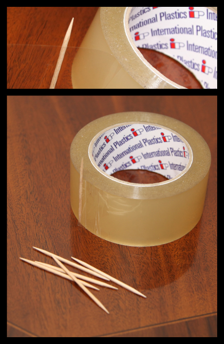 Using a toothpick to help keep the end of a roll of tape easily findable and visible.