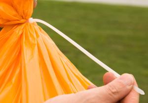 Zip Tie holding the trash bag shut