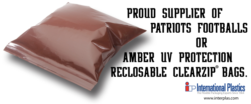 Proud supplier of patriots footballs or amber UV protective reclosable bags.
