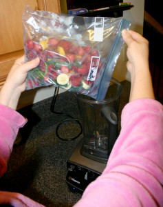 Pre-packing smoothie ingredients in plastic freezer bags not only saves time but helps you not to run out of the ingredients by the end of your schedule.