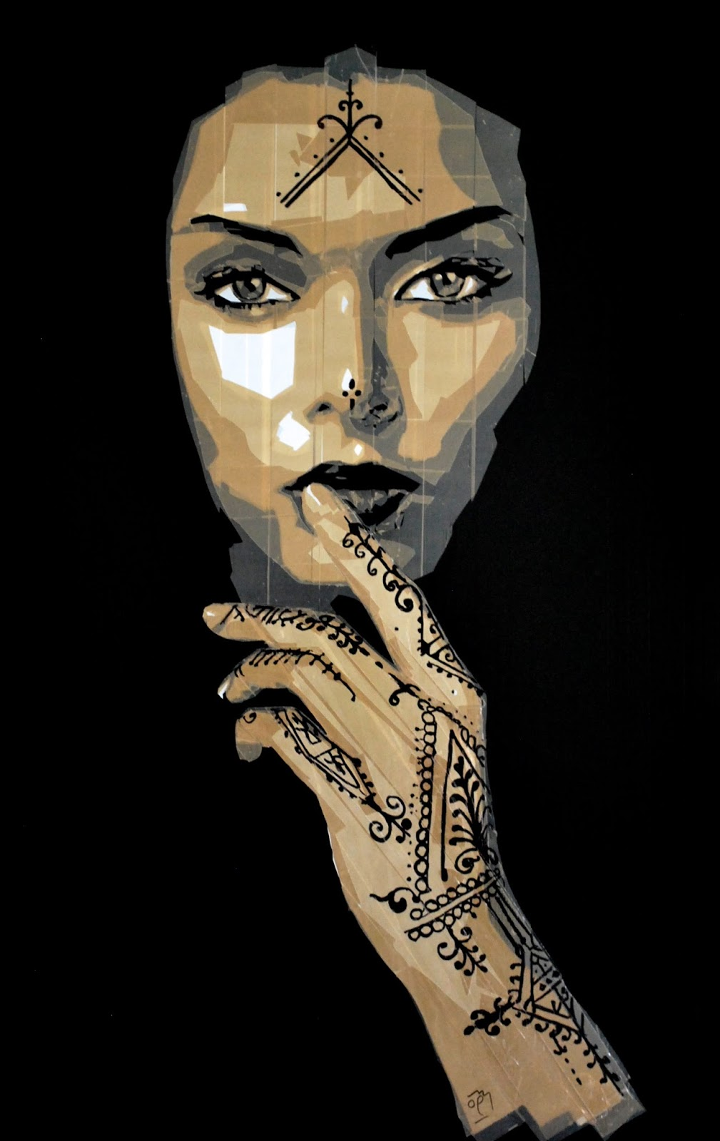 Packaging tape art of Henna girl