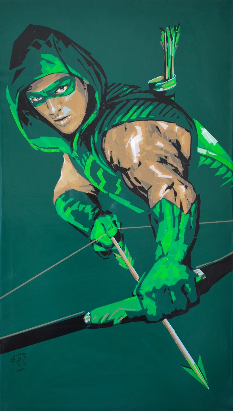 Green packaging tape portrait of Arrow