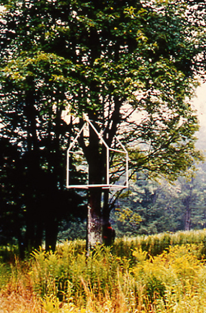 Treehouse - This sculpture with its minimalist architectural form comments on the relationship between nature and culture. The house envelops the tree, but as the tree ages it will eventually envelop the house.Painted SteelApproximate dimensions 5' Ht x 4' x 4'Installed - 1993Lookout Sculpture Park