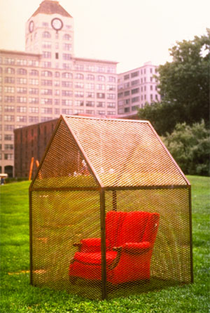 Caged Chair - A house is not a home without a favorite comfortable chair in which we can seek refuge from the outside world.In this installation one of our favorite chairs (species -