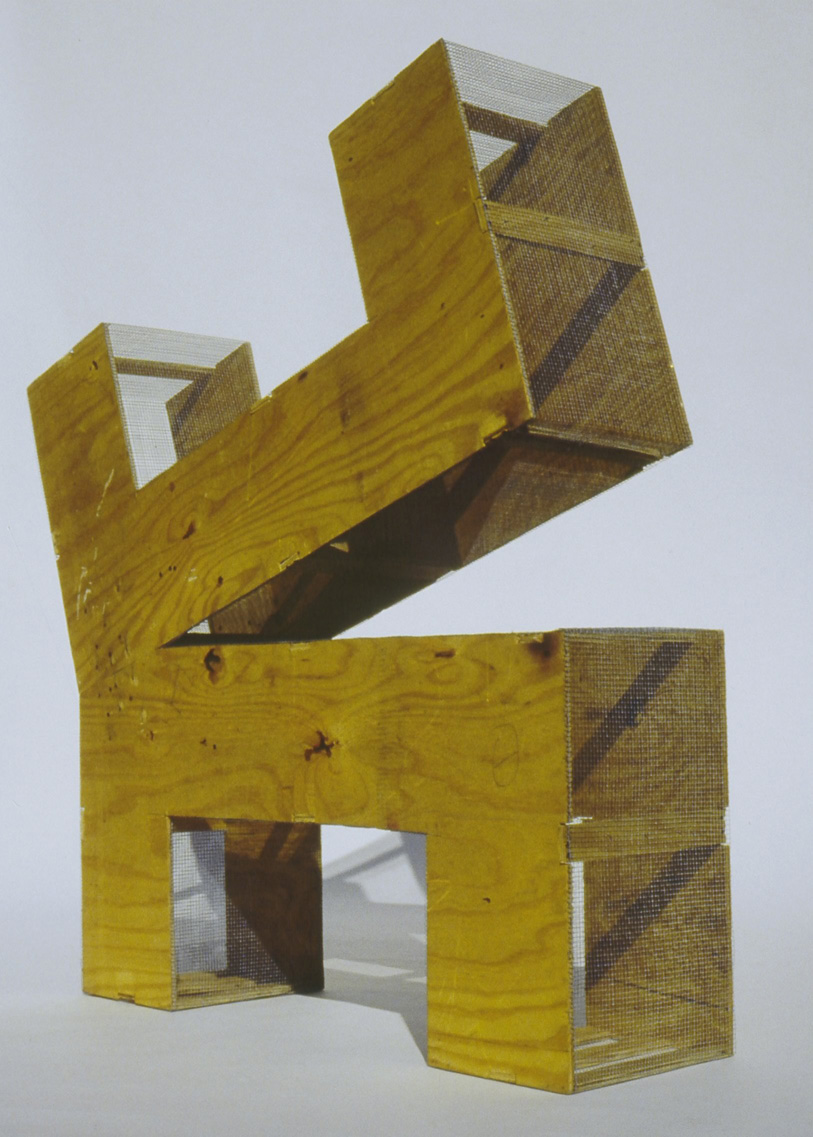 """Reformed Table - Material: Plywood and wire meshApproximate Dimensions: 51/2' x 5' x 16"""""""