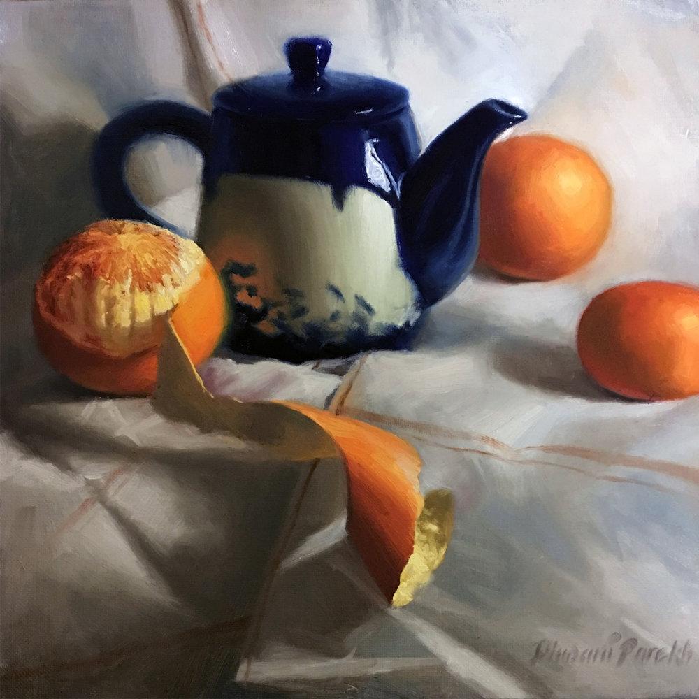 Between Oranges  12 x 12  Oil on Canvas