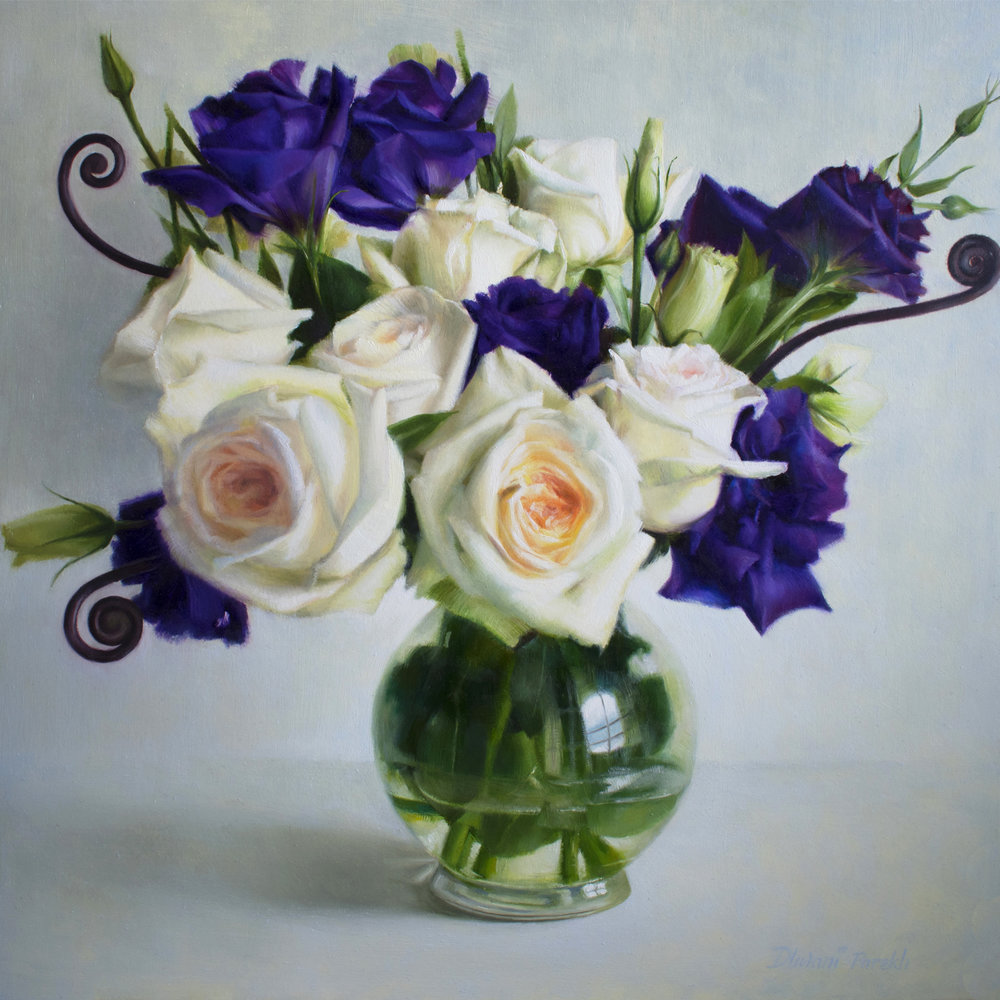 Roses, Lisianthus and Fern Shoots  16 x 16  Oil on Panel