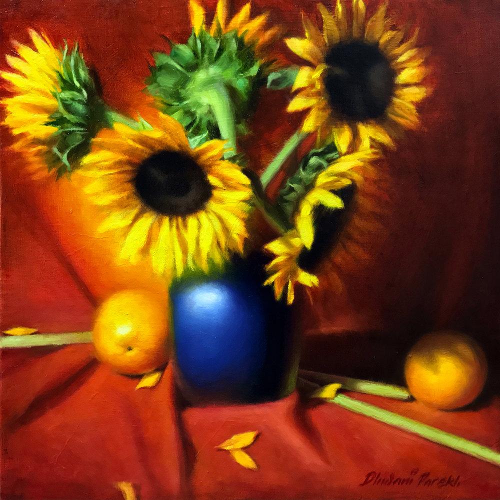 Sunflowers  15 x 15  Oil on Canvas
