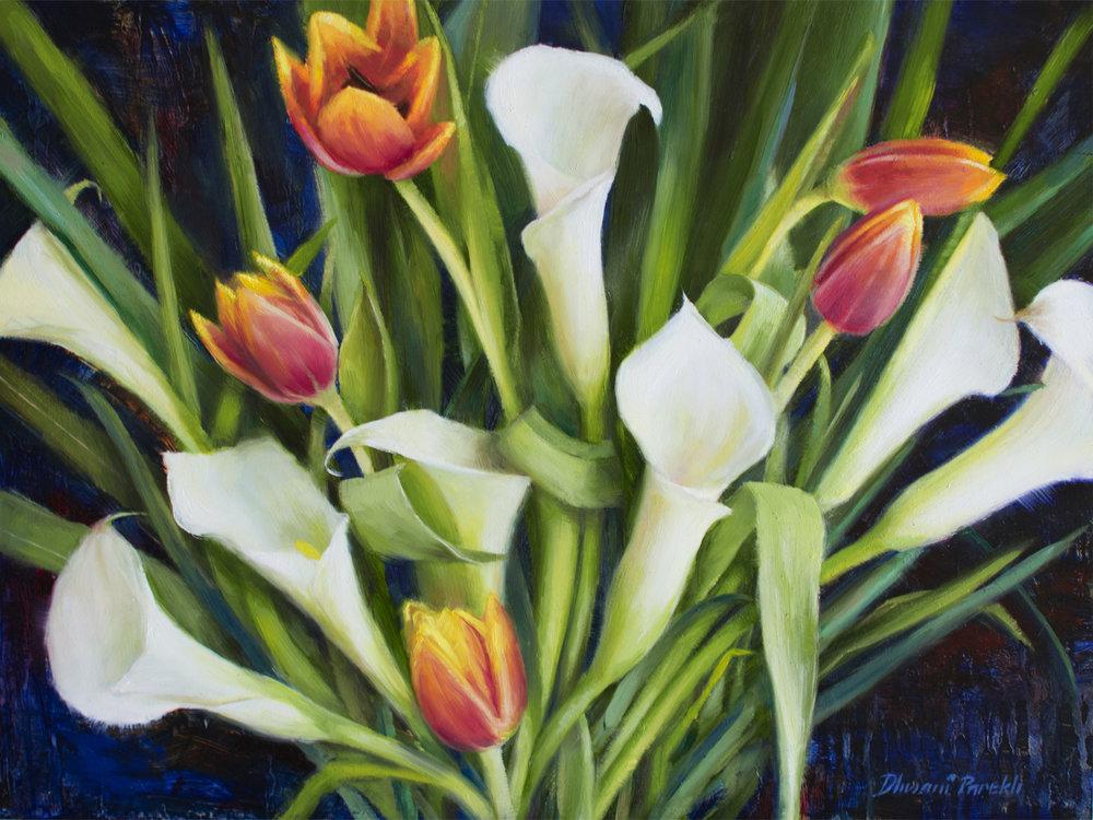 Midnight Bloom  16 x 12  Oil on Panel
