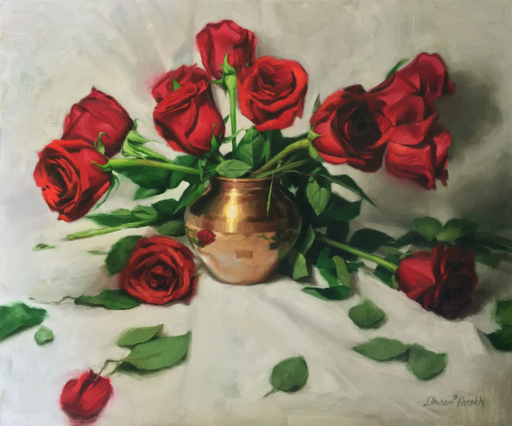 Red Roses  24 x 20  Oil on Canvas