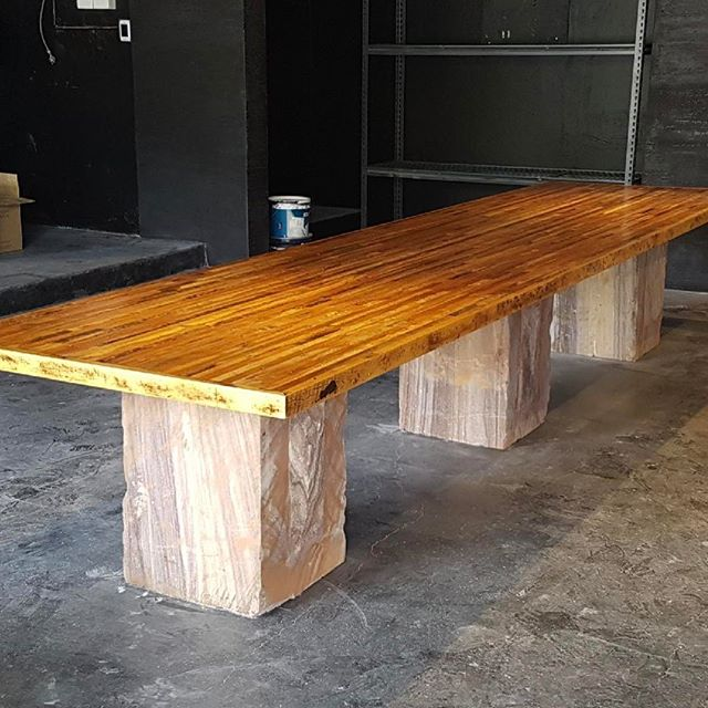 This is a 4.5 meter recycled hoop pine wine tasting table for @nativedrops_artisan_cellar in Bondi beach designed by @andymcdonelldesign built by my team.